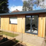 Garden office with larch cladding